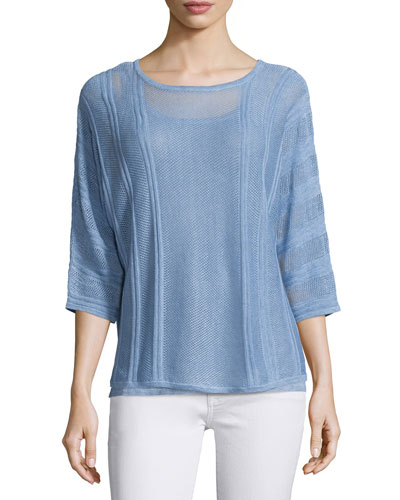 Novelty Pointelle Linen Popover Top, Light Blue