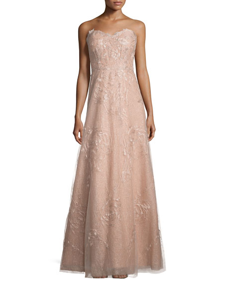 Rene Ruiz Strapless Floral-Embroidered Gown, Blush