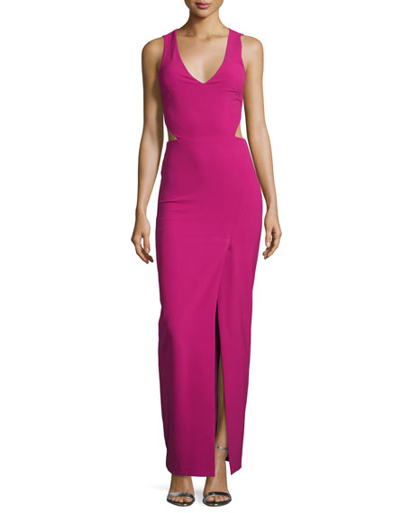 Nicole Miller Sleeveless High-Slit Fitted Gown