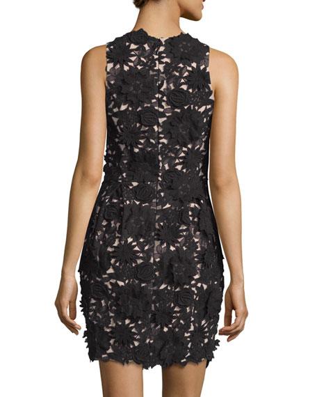 e536d58c7e19b Nicole Miller Floral-Embellished Cocktail Dress, Black/Nude