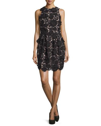 Floral-Embellished Cocktail Dress, Black/Nude