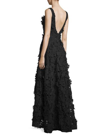 Floral-Embellished High-Low Gown, Black