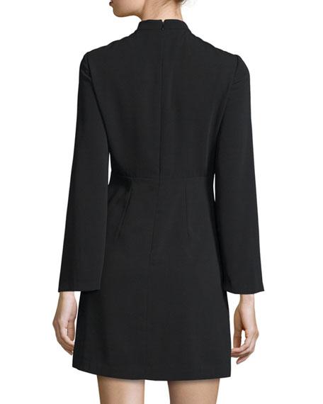 Long-Sleeve Plunging V-Neck Cocktail Dress, Black