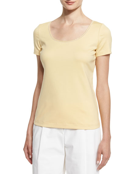 Lafayette 148 New York Scoop-Neck Jersey Top W/Chain