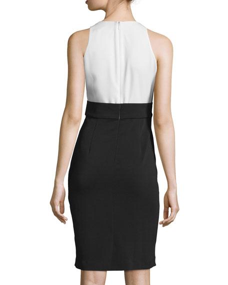Sleeveless Draped-Front Colorblock Dress, Navy/Ivory