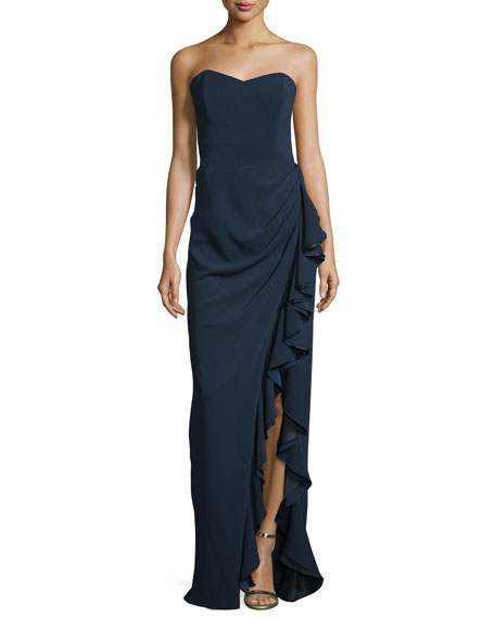 Strapless Gown W/ Ruffled Slit