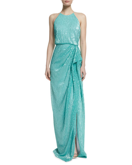 Badgley Mischka Sleeveless Draped Sequined Column Gown