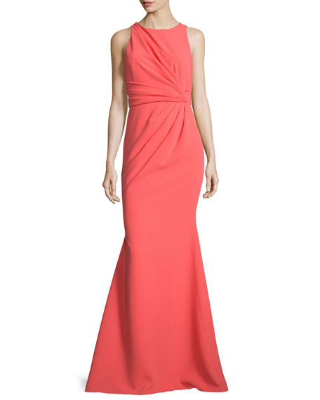 Badgley Mischka Sleeveless Gathered-Waist Gown, Coral