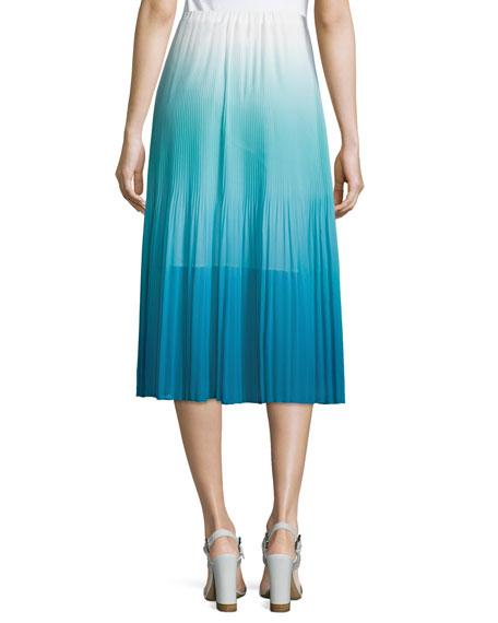 Ombre Pleated Tea-Length Skirt