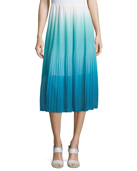 Magaschoni Ombre Pleated Tea-Length Skirt