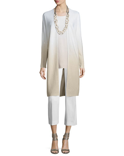 Sequin-Embellished Ombre Long Cardigan, Soy/Multi