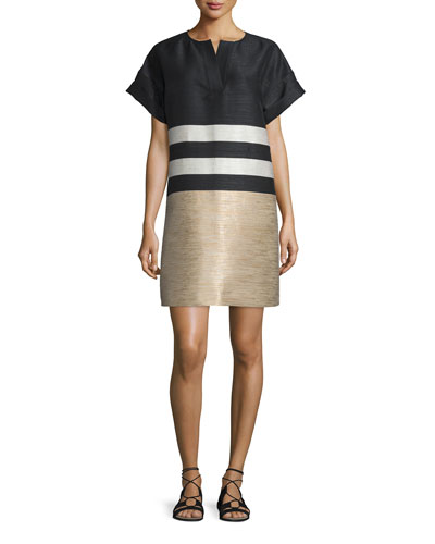 Nazeen Colorblock Shift Dress, Black/Multi