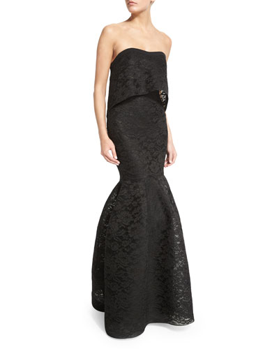 Strapless Popover Mermaid Lace Gown, Black