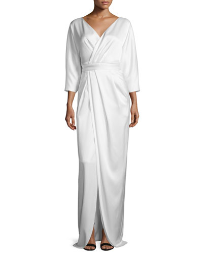3/4-Sleeve Faux-Wrap Gown