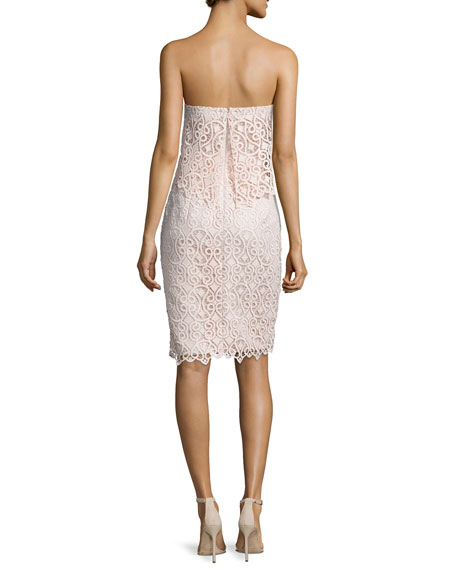 Strapless Popover Lace Cocktail Dress, Ballet Pink
