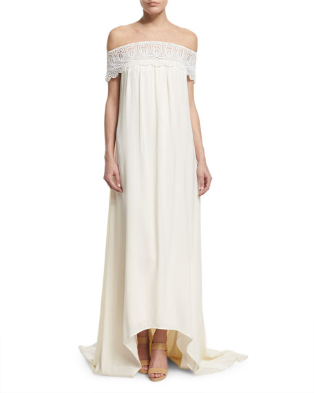 Self Portrait Off-the-Shoulder Chiffon Lace-Trim Gown, Off White