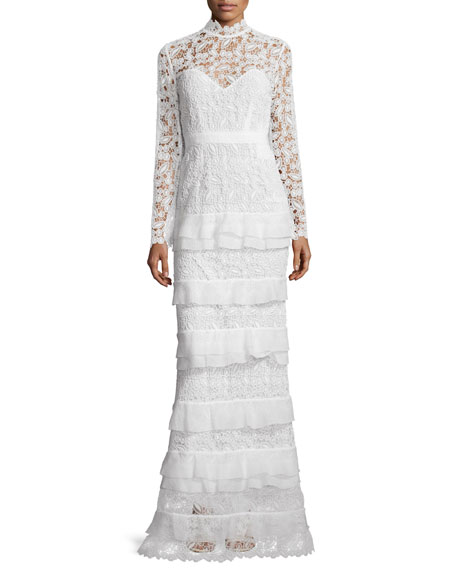 Self Portrait Primrose Long-Sleeve Tiered Lace Gown, White