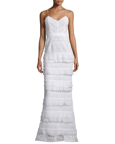 Self Portrait Penelope Sleeveless Tiered Lace Gown, White