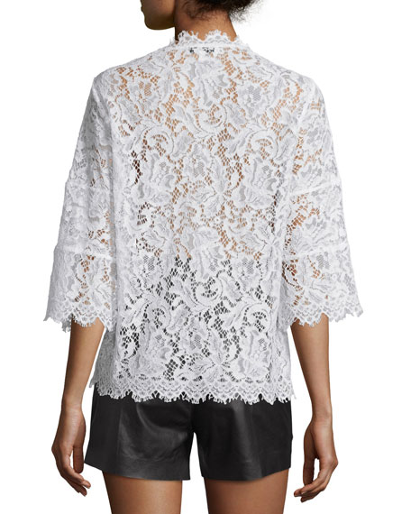 Yacinthe 3/4-Sleeve Lace Top, Ecru