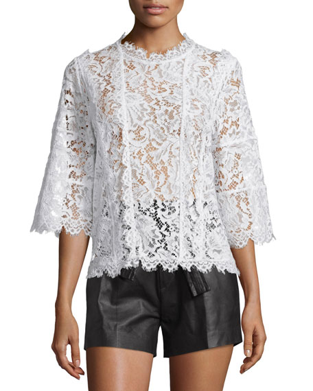 IRO Yacinthe 3/4-Sleeve Lace Top, Ecru