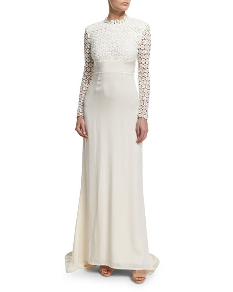 Eva Long-Sleeve Open-Back Combo Gown, Off White