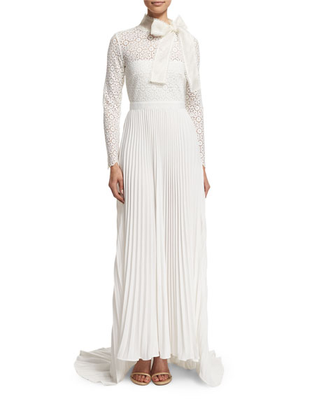Self-Portrait Long-Sleeve Pleated Lace-Trim Gown, Off White