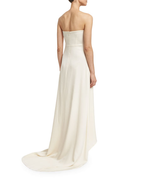 Self-Portrait Isabella Strapless Lace-Trim Gown, Off White
