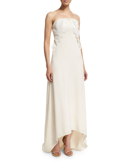 Self Portrait Isabella Strapless Lace-Trim Gown, Off White