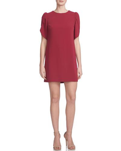 Tulip-Sleeve Shift Dress, Beet Red