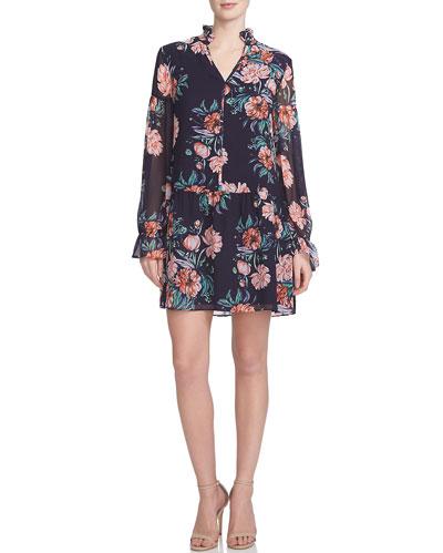Floral-Print Dropped-Waist Dress, Poppy