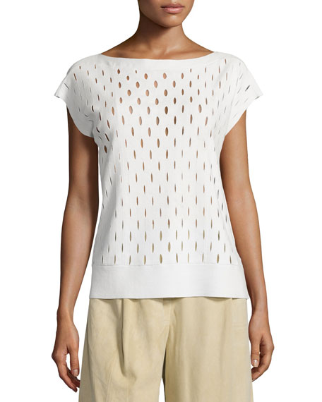 Lafayette 148 New York Decoupe Cap-Sleeve Eyelet Sweater,