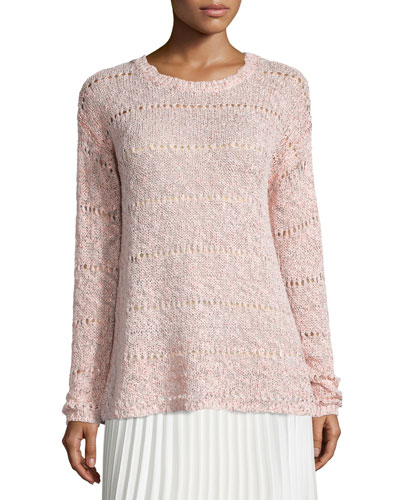 Foil-Print Sweater, Dusty Rose