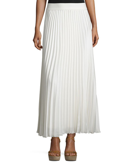 Neiman Marcus Pleated Maxi Skirt, Ivory