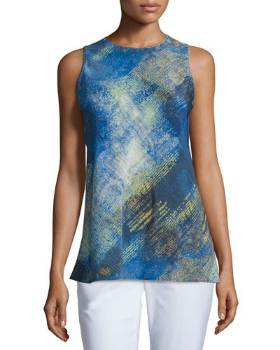 Tyson Sleeveless Printed Blouse, Ink/Multi