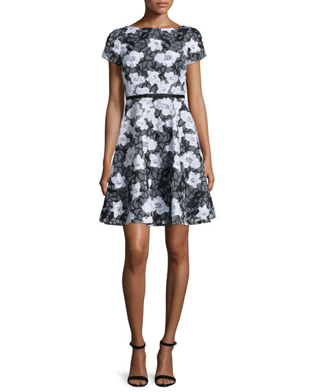 ERIN erin fetherston Short-Sleeve Floral Organza Flare Cocktail Dress