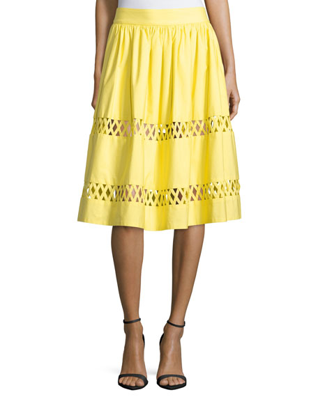 Alice + Olivia Morina Lattice-Trim A-Line Skirt, Yellow