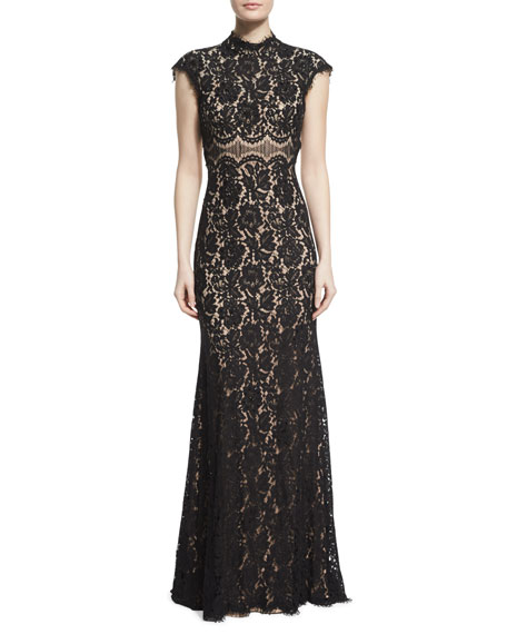 Jovani Cap-Sleeve Open-Back Two-Tone Lace Gown
