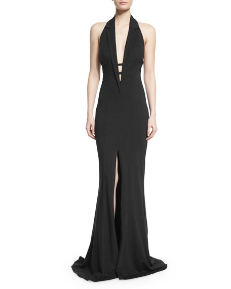 Sleeveless Deep-V High-Slit Gown w/ Lapels