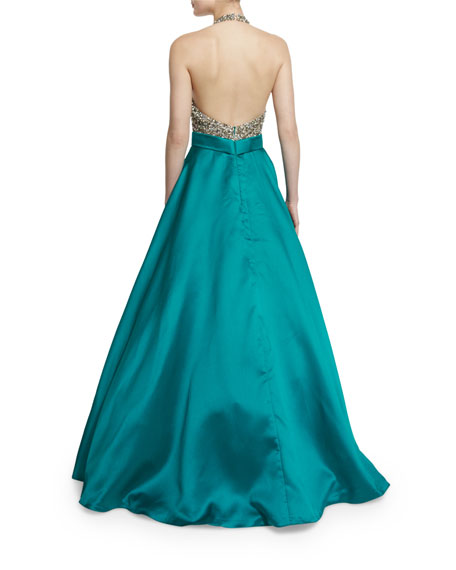 Sleeveless Sequined Combo Ball Gown