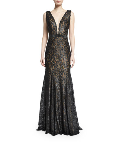 Sleeveless Deep-V-Neck Lace Gown