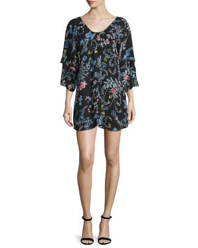 Agave Floral-Print Cold-Shoulder Dress, Woodland