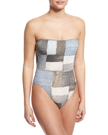 Norma Kamali Bishop Patchwork-Print One-Piece Swimsuit