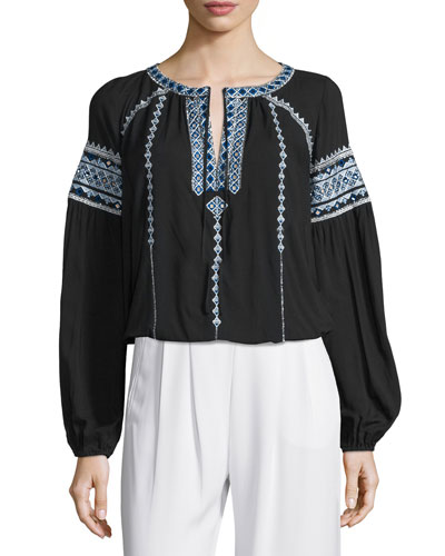 Acres Long-Sleeve Embroidered Blouse, Black
