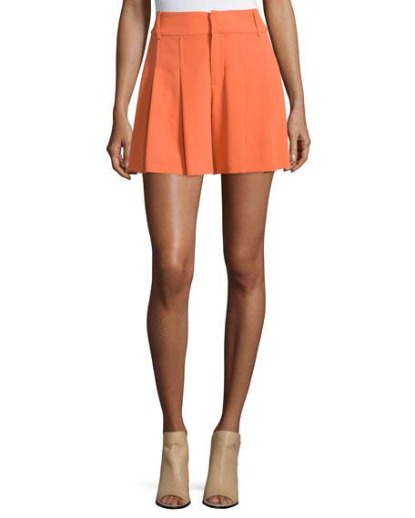 Alice   Olivia High-Waist Crepe Flutter Shorts, Orange