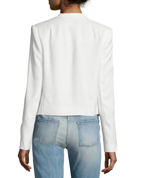 Claude Open-Front Shawl-Collar Blazer, White