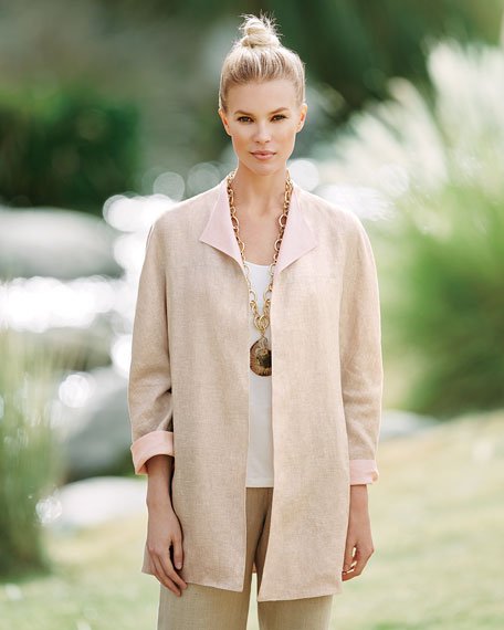 Double-Face Linen Jacket, Natural/Pink