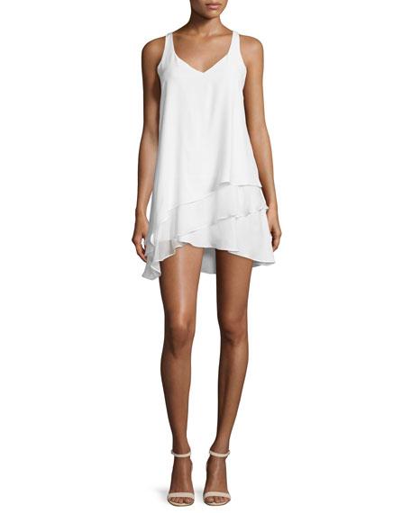 Parker Eve Sleeveless Layered A-Line Dress, White