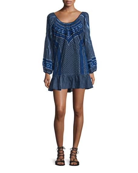 Parker Woodstock Embellished Mini Flounce Dress, Blue Pattern
