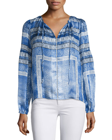 Parker Persimmon Split-Neck Printed Blouse, Olympos