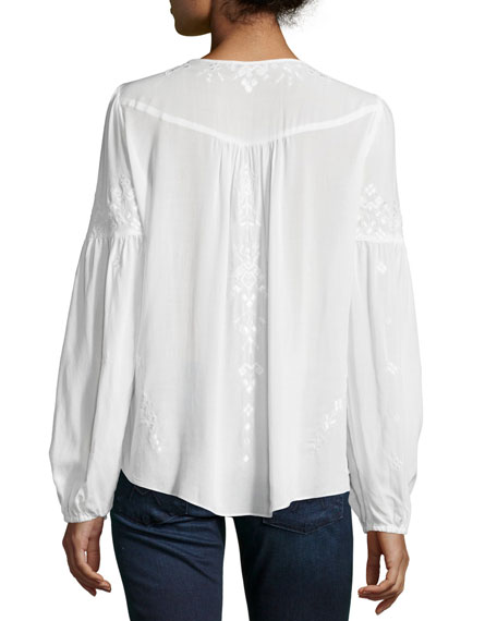Parker Persimmon Embroidered Peasant Blouse, White